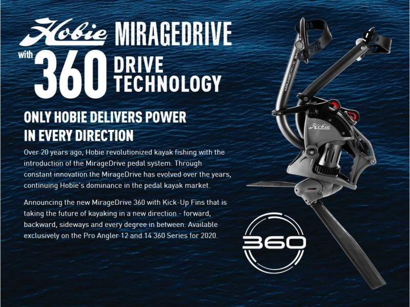 Hobie MirageDrive with 360 Drive Technology. Only Hobie delivers power in every direction.  Over 20 years ago, Hobie revolutionized kayak fishing with the introduction of the MirageDrive pedal system. Through constant innovation the MirageDrive has evolved over the years, continuing Hobie's dominance in the pedal kayak market.  Announcing the new MirageDrive 360 with Kick-Up Fins that is taking the future of kayaking in a new direction - forward, backward, sideways and every degree in between. Available exclusively on the Pro Angler 12 and 14 360 Series for 2020.