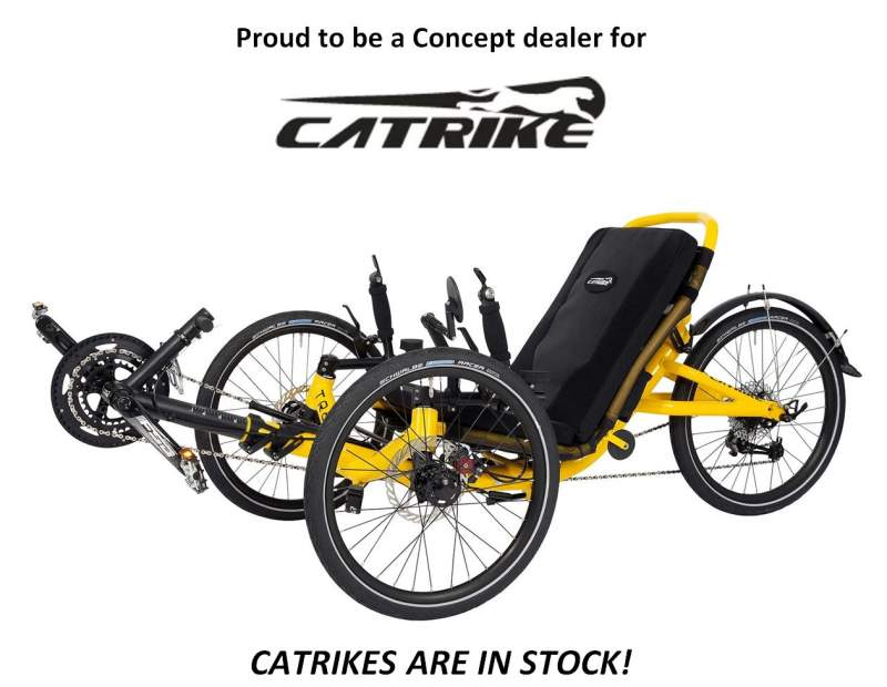 Proud to be a Concept dealer for Catrike. Catrikes are in stock! Opens new window.